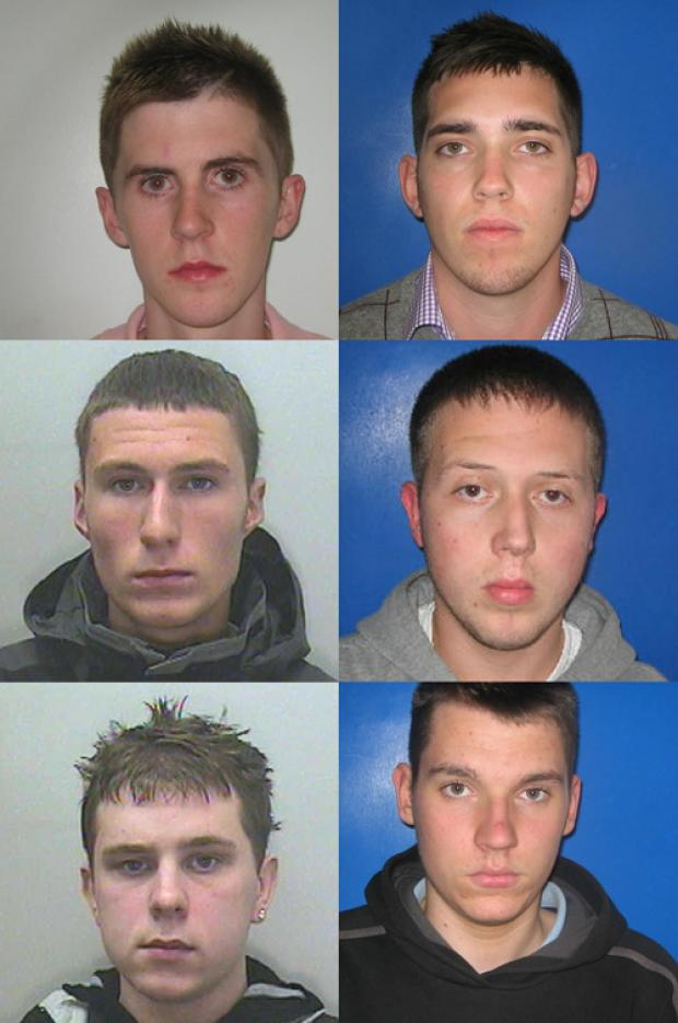 Vandals: Stephen Byrne (top left), Fraser Howie (top right), Adam Baigent (middle left), Scott Offord (middle right), Jason Newman (bottom left), Benjamin Standen (bottom right)