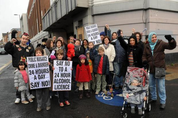 Campaigners protesting outside the former Gala Bingo Hall
