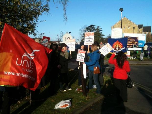 Kingston Hospital workers on strike
