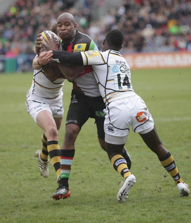 On form: Ugo Monye is a doubt for the Premiership finale