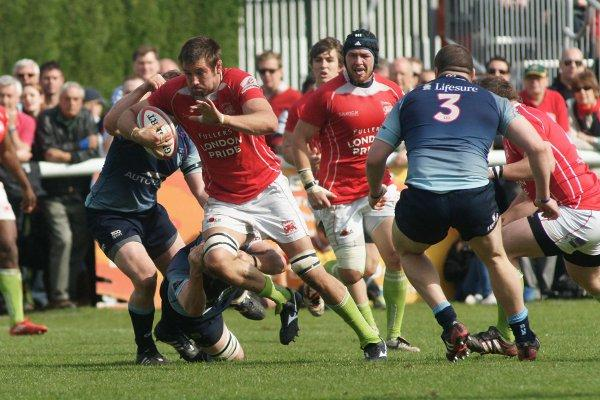 What a corker: London Welsh star Matt Corker led the charge against Bedford Blues on Sunday