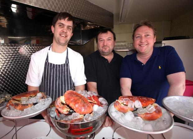 Head Chef Matthew Pepperell, crab supplier Adrian Bartlett (Really Interesting Crab Company) and pub owner Richard Coltart.