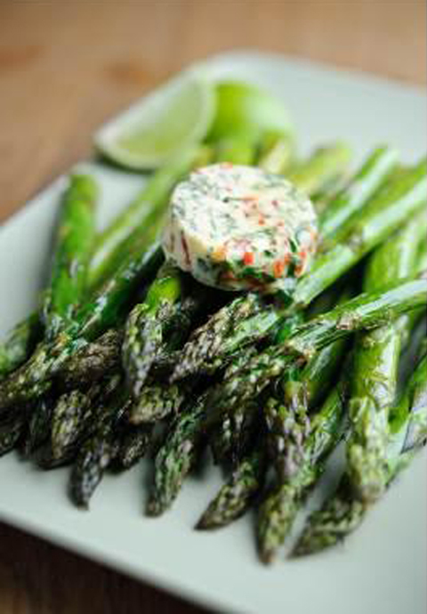 Dean Edwards' Roasted British Asparagus with Chilli and Lime Butter