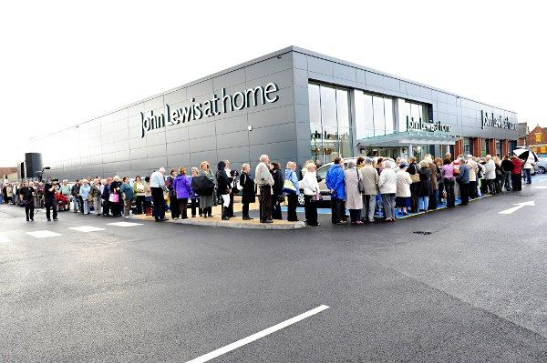 Queues outside John Lewis at Home when it opened