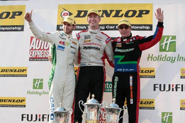 Podium boy: Tom Onslow-Cole celebrates his third place at Oulton Park