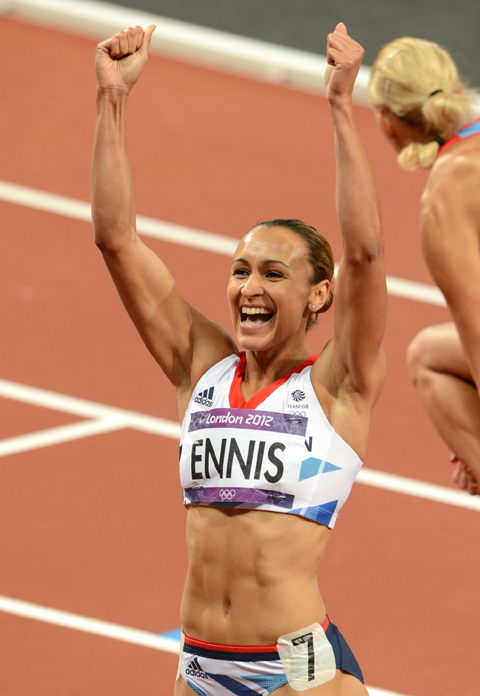 Spectators gathered at the Park Live big screen to watch Jessica Ennis in action