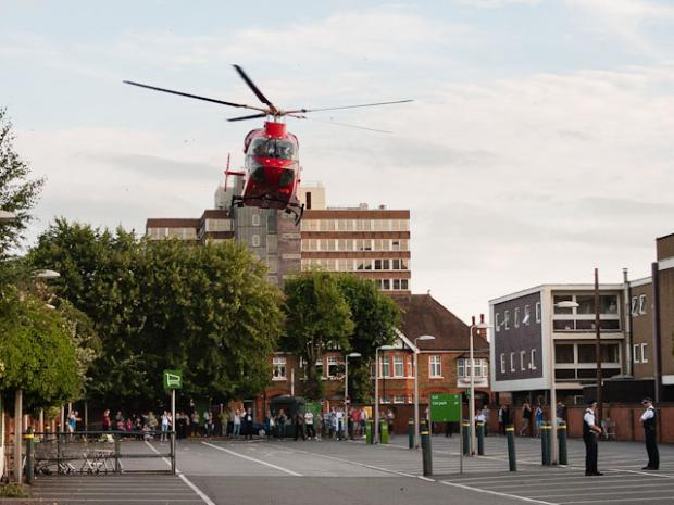 An air ambulance landed at New Malden to take the person to hospital Pic credit: Carol Hartfree www.brightimages.co.uk