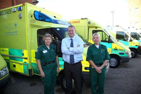 Director Stewart Lawson with ambulance personnel Denni Merit and Jo Marvin