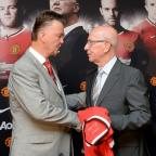 Kingston Guardian: Sir Bobby Charlton, pictured right, was present at Louis van Gaal's unveiling as manager last July