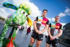 Found him: Harlequins Joe Trayfoot, left, and Ross Chisholm catch up with the Shaun the Sheep in London