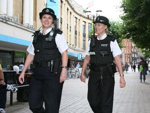 Sgt Juliet Sowter (left) and PC Sue Day-Sawyer on foot patrol in Croydon town centre